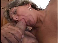 He fucks her mature pussy with his long cock