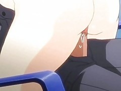 Hot anime blonde rubbing a dick with her tits