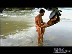 Hardcore sex with cool Latina on the beach