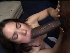 Brunette whore sucking black monster dick
