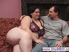 Chesty BBW whore eats two fat dicks