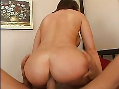 Adorable busty brunette with big ass riding huge cock