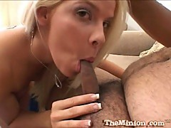 Kinzy Jo blonde babe suck a small cock of fat dude