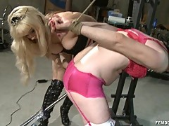 Chastity Sissy filming in machine fuck tryout