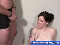 Piss drinking brunette