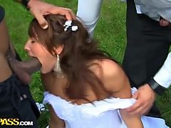 Outdoor Gangbang With A Weddings Brides Maid