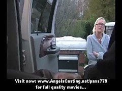 Big black guy and hot blonde taking a ride with a car and kissing