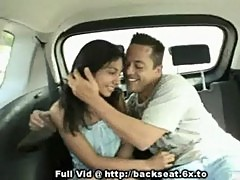 Brunette backseat blowjob