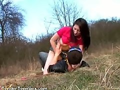 Big Tit Brunette Rides Cock Outdoors And Masturbates Clit