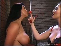 Buxom Brunette Dominatrix Has Fun with Her Insanely Hot Lesbian Sex Slave