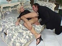 Skilful blonde in doggy pose screwing