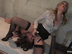 A sexy dominatrix makes her slave eat her horny cunt and cums