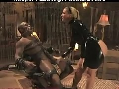Dominatrix Drenches Slave With Her Squirting Pussy bdsm bondage slave femdom domination