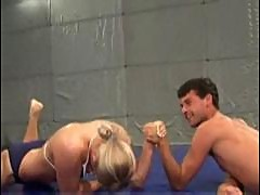 Mixed wrestling with cute wrestlebabe orsi