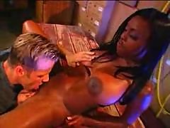 Ebony chick in pvc boots gets humped