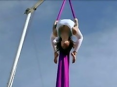 Belladonna keeps herself in shape doing aerial silk routines