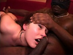 French girl gets fucked by two black guys