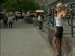Blonde with small tits tied in public
