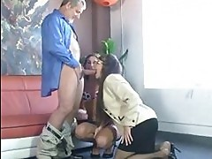 Nerdy brunette with glasses and hot blonde suck one dick