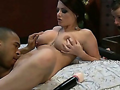 Beautifull busty dominatrix lady together with two men explores her fantasies in bondage video