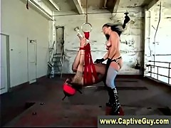 Strapon weilding domina mistress slams losers ass