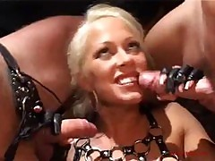 Sexy Blonde In Fetish Threesome 2