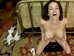 Busty brunette gets her holes destroyed
