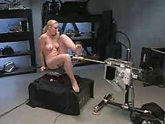 Hot blonde gets machine fucked