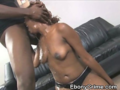 Dirty Black Ghetto Slut Choked With Big Cock