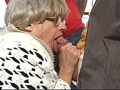 Granny gang bang with a several hard dicks with hard fucked session