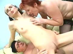 Grandma and Grandpa Have Fucking With A Young Brunette