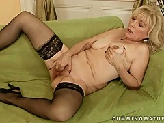 Grandmas like fun too! This filthy lady plays with her pussy and cums!