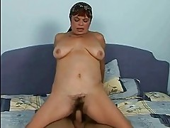 Lusty hairy granny fucking with a boy
