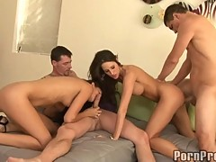 Kortney Kane gets nasty naked with her girlfriends enjoying a group fuck indoor