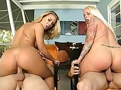 Two big ass blonde pornstars riding two hard peckers in grou...