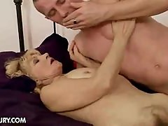 Hairy granny fucked by younger man