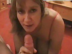 Busty blonde sucks cock and does hand job