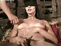 Blind folded slave finger fucks herself while one master pul