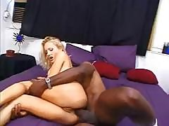 Horny Blonde Takes On A Big Black Cock, Blows And Gets Ass Nailed