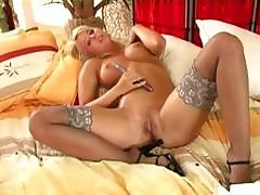Busty Blonde Milf In Lingerie And High Heels Fingers Her Sweet Pink Pussy