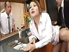 Asian brunette with hairy pussy sucks cock and gets fucked i...