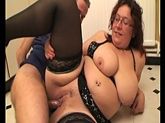 Busty chubby gets two cocks in threesome