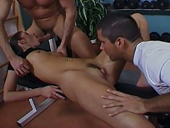 Extreme hardcore sex with a brunette babe and two dude
