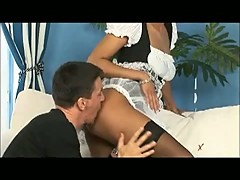 Sexy maid fucked by client