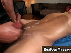Gay masseur fucks straight guy on massage table