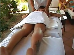Gorgeous busty brunette sluts getting massage from two guys