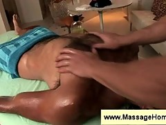 Hairy dude gets a massage