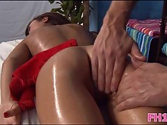 Teen oiled before mouth & pussy ramming