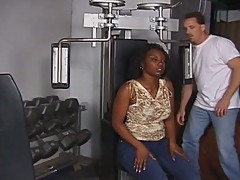 Hot black momma fucks in the gym