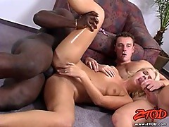 Tight ass Sarah Blue likes a black monster dick in her tight asshole